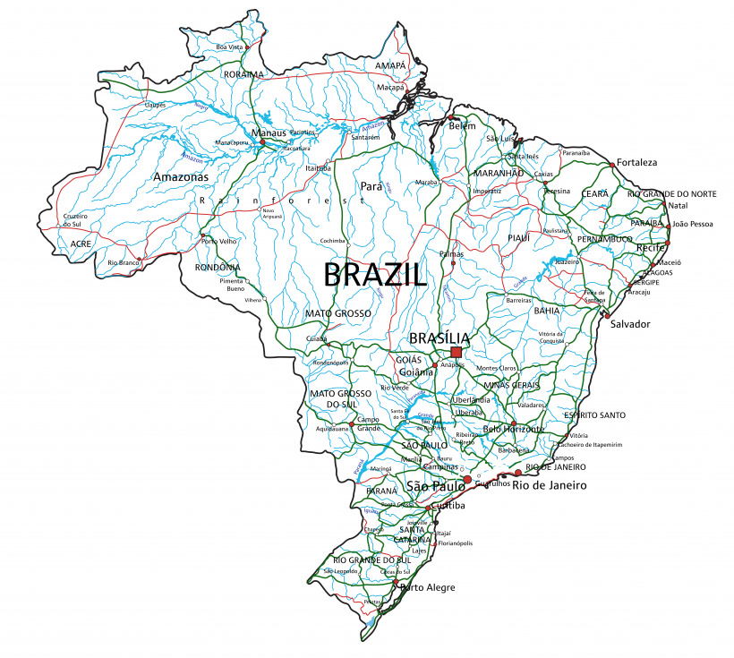 Map of roads and highways in Brazil